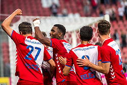 12-05-2018 NED: FC Utrecht - Heerenveen, Utrecht<br /> FC Utrecht win second match play off with 2-1 against Heerenveen and goes to the final play off / Rico Strieder #6 of FC Utrecht score the 1-0, Lukas Gortler #27 of FC Utrecht, Gyrano Kerk #7 of FC Utrecht, Mark van der Maarel #2 of FC Utrecht