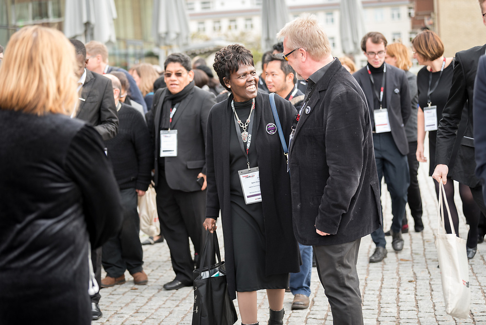 1 November 2018, Uppsala, Sweden: Dr Agnes Abuom (left) in conversation with Lars Ove Ljungberg, Church of Sweden. The Thursdays in Black campaign is featured at a Joint Day on Ecumenical Diakonia, with ACT Alliance and the Executive Committee of the World Council of Churches.