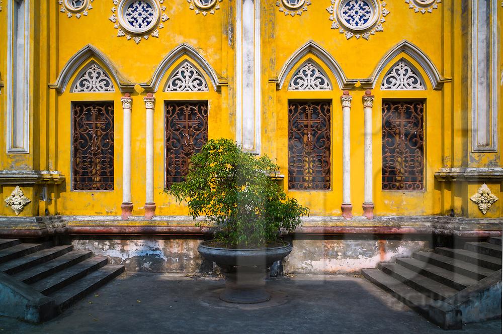 Yellow church in Hai Loc Commune, Hai Hau District, Nam Dinh Province, Vietnam, Southeast Asia