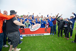 Cove fans with the team at the end. Cove Rangers have become the SPFL's newest side and ended Berwick Rangers' 68-year stay in Scotland's senior leagues by earning a League Two place. Berwick Rangers 0 v 3 Cove Rangers, League Two Play-Off Second Leg played 18/5/2019 at Berwick Rangers Stadium Shielfield Park.