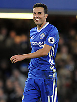 Football - 2016 / 2017 Premier League - Chelsea vs. AFC Bournemouth<br /> <br /> Pedro of Chelsea laughs after scoring his 2nd goal at Stamford Bridge.<br /> <br /> COLORSPORT/ANDREW COWIE