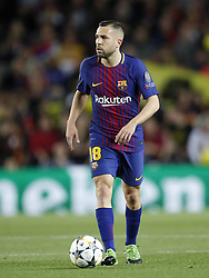 Jordi Alba of FC Barcelona during the UEFA Champions League quarter final match between FC Barcelona and AS Roma at the Camp Nou stadium on April 04, 2018 in Barcelona, Spain.