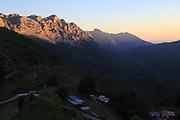 Rocky mountain peaks at sunset near Xalo or Jalon, Marina Alta, Alicante province, Spain
