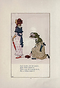 Lucy Locket, lost her pocket , Kitty Fisher found it ; There was not a penny in it, But a ribbon round it.  from the book Mother Goose : or, The old nursery rhymes by Kate Greenaway, Engraved and Printed by Edmund Evans published in 1881 by George Routledge and Sons London nad New York