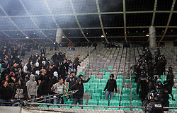 Green Dragons, fans of Olimpija fighting with police during football match between NK Olimpija and NK Maribor in Round #31 of Prva liga Telekom Slovenije 2016/17, on April 29, 2017 in SRC Stozice, Ljubljana, Slovenia. Photo by Vid Ponikvar / Sportida