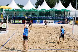 Vid Jakopin and Gregor Perhaj (Asics MojcaSport outlet) at semi final of Beachmaster 2010 tournament for Slovenian BeachTour on July 17, 2010, in Ptuj, Slovenia. (Photo by Matic Klansek Velej / Sportida)