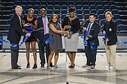 L-R: Michael Linceford, Jolanda Jones, Derrick Sanders, Rhonda Skillern-Jones, Wanda Adams, Richard Carranza and Marmion Dambrino cut the ribbon during a grand opening ceremony at Delmar Fieldhouse, February 10, 2017.
