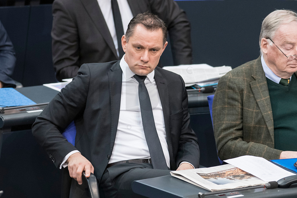 14 FEB 2019, BERLIN/GERMANY:<br /> Tino Chrupalla, MdB, AfDd, Bundestagsdebatte, Plenum, Deutscher Bundestag<br /> IMAGE: 20190214-01-024<br /> KEYWORDS: Bundestag, Debatte