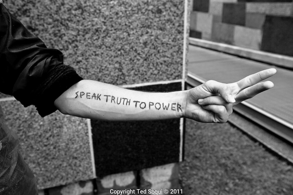 Portraits of people at Occupy LA in downtown Los Angeles.<br /> Paul Murufas, dishwasher, from Long Beach, CA.