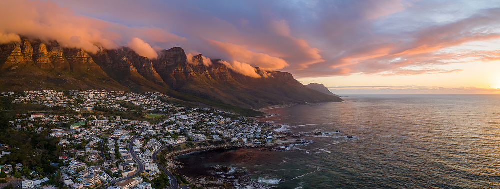April 17, 2020: Panoramic aerial view of sunset at camps bay, South Africa. (Credit Image: © Amazing Aerial via ZUMA Wire)