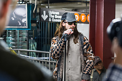 EXCLUSIVE: Maroon 5 with Adam Levine and Jimmy Fallon perform in disguise in the Rockefeller Center Subway Station in New York City, NY on Wednesday November 1, 2017. They appear to be doing scene for the Tonight Show to coincide with Levine's appearance on Monday night. 01 Nov 2017 Pictured: Adam Levine. Photo credit: MEGA TheMegaAgency.com +1 888 505 6342