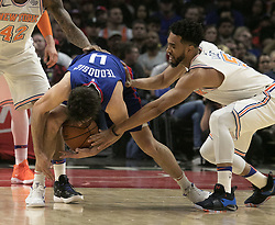 March 2, 2018 - Los Angeles, California, U.S - Milos Teodosic #4 of the Los Angeles Clippers battles for the ball with Courtney Lee #5 of the New York Knicks during their NBA game on Friday March 2, 2018 at the Staples Center in Los Angeles, California. Clippers defeat Knicks, 128-105. (Credit Image: © Prensa Internacional via ZUMA Wire)