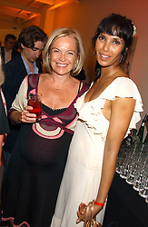 Left to right, MARIELLA FROSTRUP and PADMA LAKSHMI  at a party to celebrate the publication of 'Shalimar The Clown' by Salman Rushdie, held at the David Gill Galleries, 3 Loughborough Street, London SE11 on 7th September 2005.<br />