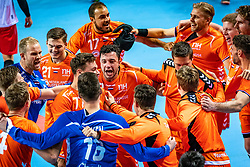 The Dutch handball player Bobby Schagen, Jeffrey Boomhouwer, Dani Baijens, Mark van den Beucken, Samir Benghanem in action during the European Championship qualifying match against Turkey in the Topsport Center Almere.