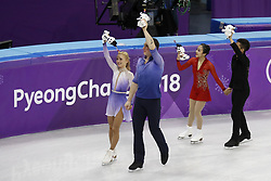 February 15, 2018 - Pyeongchang, KOREA - Aljona Savchenko and Bruno Massot of Germany, and Meagan Duhamel and Eric Radford of Canada  after competing in pairs free skating during the Pyeongchang 2018 Olympic Winter Games at Gangneung Ice Arena. (Credit Image: © David McIntyre via ZUMA Wire)
