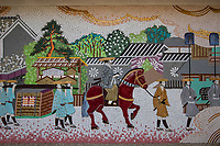 """Nakasendo Mural - The Gokaido highways were established by the Tokugawa shogunate as official routes for daimyo feudal lords and their retainers to travel from Kyoto to the capital Edo - now Tokyo. This system of paths and roads facilitated information, troops and dispatches from the government.  The passage of people and goods along these roads were checked at various barrier stations along the routes.  The Tokaido Road along the Pacific Coast, was the busiest route as it was the most direct and was mostly flat.  However, due to the number of river crossings involved along the Tokaido, it was considered dangerous, and many lords sent their wives and children on the longer, but safer inland highway, the Nakasendo. The Nakasendo or the """"highway through the eastern mountains""""  stretched 534 km fromKyoto to Tokyo over mountainous terrain.  Important post towns along the Nakasendo included Kusatsu, Maibara, Ochiai,  Miyanokoshi, Yabuhara, Shiojiri, Karuizawa, Maebashi and Kawaguchi. These post-towns provided accommodation and lodging for travelers and officials on the old highway. The Nakasendo trails are well marked and attract a growing number of hikers who wish to seek out rural and an older Japan."""