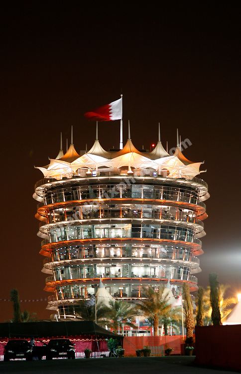 Night scene from the paddock with the King´s Tower before the 2008 Bahrain Grand Prix. Photo: Grand Prix Photo