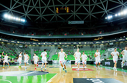 Players of Slovenia at warming up prod to the friendly basketball match between National Teams of Slovenia and Brasil at Day 2 of Telemach Tournament on August 22, 2014 in Arena Stozice, Ljubljana, Slovenia. Photo by Vid Ponikvar / Sportida