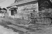 9424-M5.  Mendocino California. Martin Hazeltine's photo studio on Little Lake St., Mendocino, which opened in March 1883. Ca. 1960 photo.
