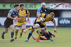 Dewald Potgieter (c) of Worcester Warriors avoids a challenge - Mandatory by-line: Dougie Allward/JMP - 04/02/2017 - RUGBY - BT Sport Cardiff Arms Park - Cardiff, Wales - Cardiff Blues v Worcester Warriors - Anglo Welsh Cup
