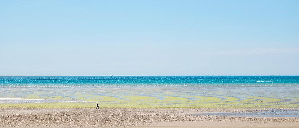 Lone walker and seaweed forming geometric shapes on sandy beach at St Aubin's Bay, Jersey, Channel Isles