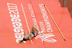 Marusa Cernjul of Slovenia competes in the High Jump Women Qualification on day one of the 2017 European Athletics Indoor Championships at the Kombank Arena on March 3, 2017 in Belgrade, Serbia. Photo by Vid Ponikvar / Sportida