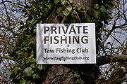 Private fishing sign for the Taw Fishing Club on the River Taw on 5th May 2021 in Chulmleigh, Devon, United Kingdom. The fishing rights to this area are owned by the club which is a fly or game fishing club.