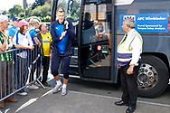 Wimbledon forward Joe Pigott (39) arrives during the EFL Sky Bet League 1 match between Burton Albion and AFC Wimbledon at the Pirelli Stadium, Burton upon Trent, England on 1 September 2018.