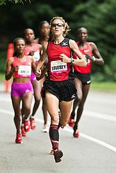 NYRR Mini 10K road race (40th year); Lindsay Scherf leads race