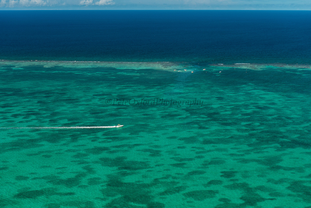 The Channel Aerial view<br /> Hol Chan Marine Reserve<br /> near Ambergris Caye and Caye Caulker<br /> Belize<br /> Central America