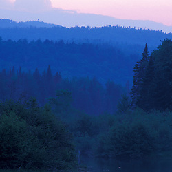 Errol, NH. Androscoggin River in summer.  13 Mile Woods. Sunset.  Northern Forest, Great North Woods.