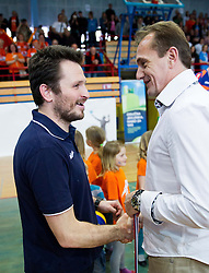 Luka Slabe, head coach of ACH and  Metod Ropret, president of OZS after winning the volleyball match between Calcit Volleyball and ACH Volley in 4th Final Round of Radenska Classic League 2012/13 on April 16, 2013 in Arena Kamnik, Slovenia. ACH Volley defeated Calcit Kamnik in games 3-1 and became Slovenian National Champion 2013.(Photo By Vid Ponikvar / Sportida)