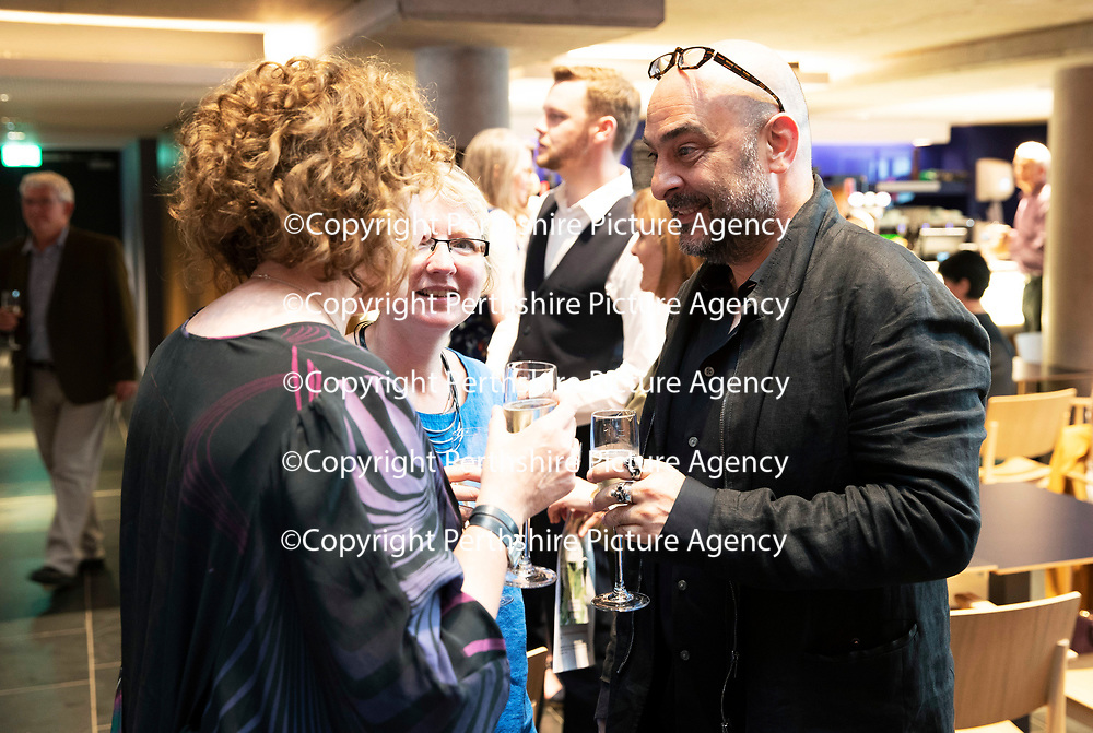 EMBARGOED UNTIL 18.00 (6PM) 10.06.18 <br />Critics' Awards for Theatre in Scotland at Perth Theatre, presenter actress Blythe Duff pictured with Zinnie Harris Playwright/ Director and Murat Daltaban whor Directed Rhinoceros<br />for further info contact Lesley Booth at CATS on 07799 414474<br />Picture by Graeme Hart.<br />Copyright Perthshire Picture Agency<br />Tel: 01738 623350  Mobile: 07990 594431