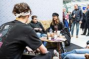 Prinses Laurentien en bekende nederlanders voeren op Valentijnsdag echte gesprekken op station Utrecht Centraal als onderdeel van de actie #echtcontact.<br /> <br /> Op de foto:  Trijntje Oosterhuis