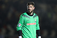 Josh Vickers, the Barnet goalkeeper looks on. EFL Skybet football league two match, Newport county v Barnet at Rodney Parade in Newport, South Wales on Tuesday 25th October 2016.<br /> pic by Andrew Orchard, Andrew Orchard sports photography.