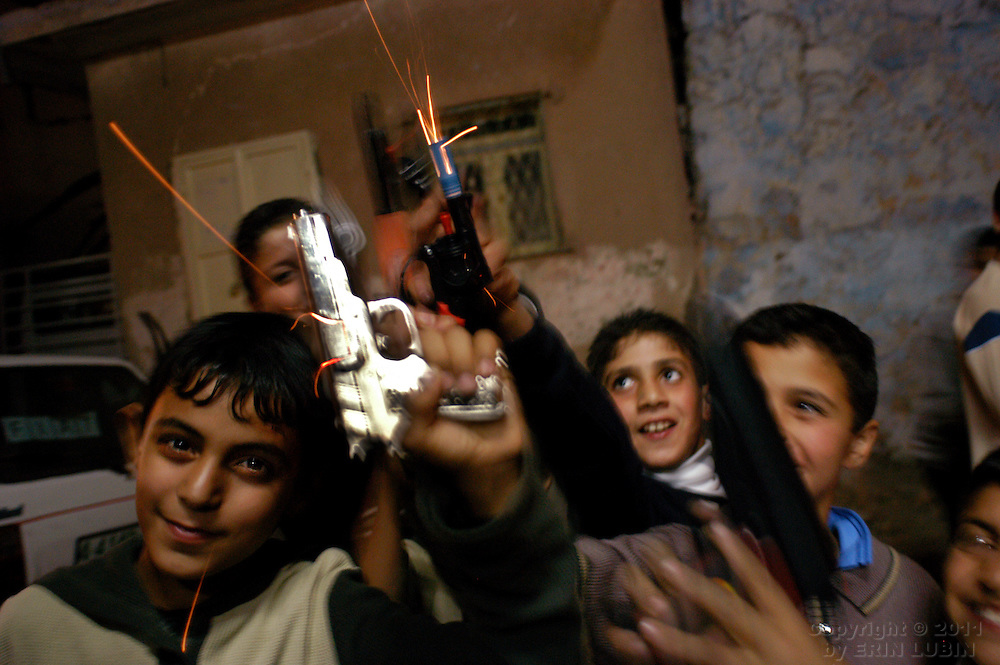 Children celebrate the end of Ramadan in the northern West Bank village of Qaffin...Photo by Erin Lubin