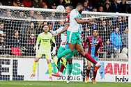 Plymouth Argyll forward Freddie Ladapo (19) heads the ball goal bound during the EFL Sky Bet League 1 match between Scunthorpe United and Plymouth Argyle at Glanford Park, Scunthorpe, England on 27 October 2018. Pic Mick Atkins