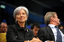 Christine Lagarde, France's finance minister, smiles during a news conference at the European Summit, in Brussels, Belgium on Wednesday, Oct. 15, 2008.  (Photo © Jock Fistick)