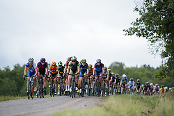 Dani King leads the chase over the third gravel sector at the Crescent Vargarda - a 152 km road race, starting and finishing in Vargarda on August 13, 2017, in Vastra Gotaland, Sweden. (Photo by Sean Robinson/Velofocus.com)