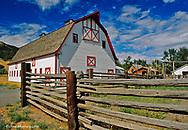 Nice red and white barn in Wolf Creek, Montana, USA