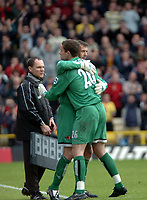 Photo: Tony Oudot.<br /> Watford v Newcastle United. The Barclays Premiership. 13/05/2007.<br /> Ben Foster hugs Alec Chamberlain of Watford as he is substituted in his last game for the club