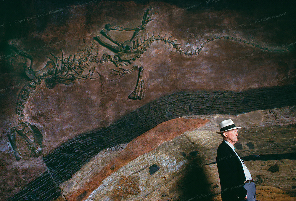 """Octogenarian bone hunter Same Welles, researcher at the University of California at Berkeley, with a cast of Dilophosaurus, the """"double crested reptile,"""" a Jurassic-aged carnivorous dinosaur he found on a Navajo Reservation."""
