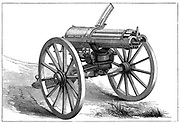 Gatling machine gun. From 'The Graphic', London, 1870.