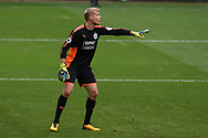 Jonas Lossl, the goalkeeper of Huddersfield Town looks on. Premier league match, Swansea city v Huddersfield Town at the Liberty Stadium in Swansea, South Wales on Saturday 14th October 2017.<br /> pic by  Andrew Orchard, Andrew Orchard sports photography.