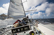 North Atlantic Ocean, September 2014.<br /> The crew is challenged by the rough sea while recovering  the trawls back on the Sea Dragon. © Chiara Marina Grioni