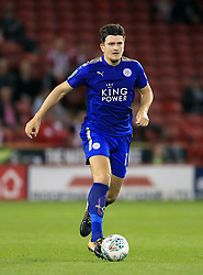 """Leicester City's Harry Maguire during the Carabao Cup, Second Round match at Bramall Lane, Sheffield. PRESS ASSOCIATION Photo. Picture date: Tuesday August 22, 2017. See PA story SOCCER Sheff Utd. Photo credit should read: Tim Goode/PA Wire. RESTRICTIONS: EDITORIAL USE ONLY No use with unauthorised audio, video, data, fixture lists, club/league logos or """"live"""" services. Online in-match use limited to 75 images, no video emulation. No use in betting, games or single club/league/player publications."""