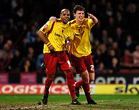 Photo: Daniel Hambury.<br />Crystal Palace v Watford. Coca Cola Championship. 31/03/2006.<br />Watford's Marlon King (L) celebrates his goal with Matthew Spring (R).