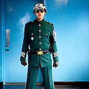 Portrait of a young South Korean soldier inside the blue house located in Panmunjom - the home of the Joint Security Area (JSA) - which is located in the Korean Demilitarized Zone (DMZ) dividing both Koreas. Behind the door is already North Korean territory. #archive #latergram #southkorea #korea #soldier #panmunjom #38thparallel #dmz #portrait #jsa #bluehouse