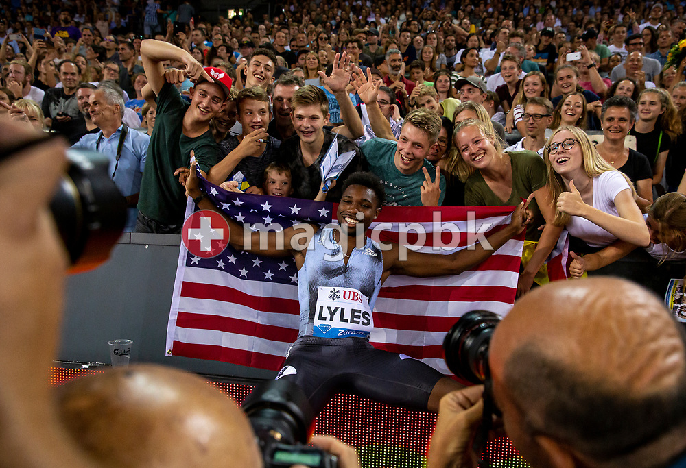 Noah LYLES of United States of America (USA) celebrates after winning in the Men's 100m during the Iaaf Diamond League meeting (Weltklasse Zuerich) at the Letzigrund Stadium in Zurich, Switzerland, Thursday, Aug. 29, 2019. (Photo by Patrick B. Kraemer / MAGICPBK)