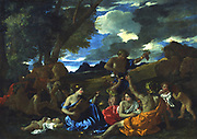 Andrians or The Great Bacchanal with Woman Playing a Lute': 1628, oil on canvas.  Nicolas Poussin (1594-1665) French painter.  Bacchus (Dionysius in Greek pantheon) Roman god of Wine, associated with drunkenness.